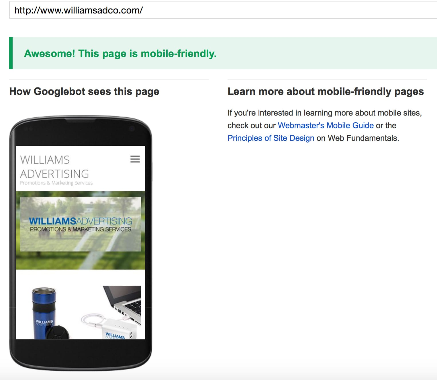 Williams Advertising Mobile Friendly Website