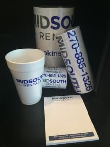 MidSouth Rentals in Hopkinsville Notepad, Stickers and Cup from Williams Advertising