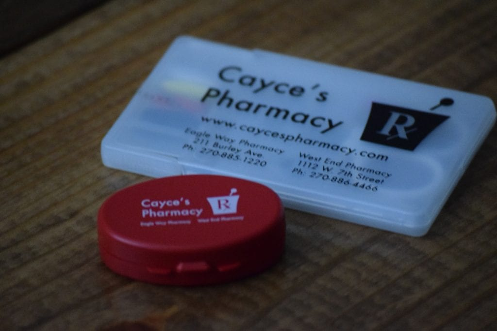 Cayce's Pharmacy Logo Pill Case and Sewing Kit